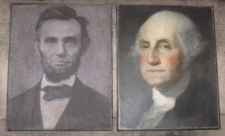 Colonial Primitive Canvas Prints, Abe Lincoln & George Washington