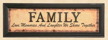 "Sign, Doorboard - ""Family"", Wooden Letters - Framed Print"