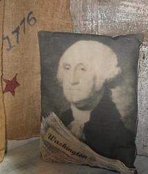 Primitive Pillow - George Washington/Washington w/Cheesecloth