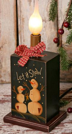 Primitive Snowman Collection - Wooden Electric Light-lamps, lights, primitive, country, snowmen,