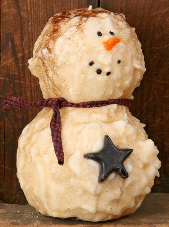 """Primitive Snowman Candle w/Tealight, 8"""" H"""