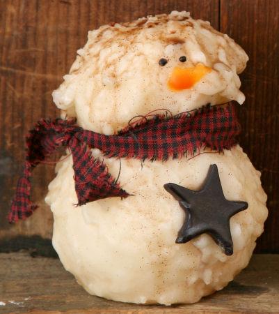 """Primitive Snowman Candle w/Tealight, 4"""" H"""