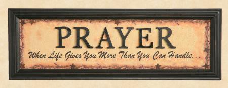 """Sign, Doorboard -  """"Prayer"""", Wooden Letters - Framed Print"""