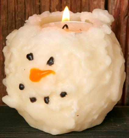 "Primitive Snowman Candle, 3"" Face,  w/Tea Light"